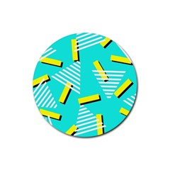 Vintage Unique Graphics Memphis Style Geometric Triangle Line Cube Yellow Green Blue Rubber Coaster (round)  by Mariart