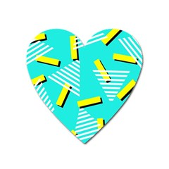 Vintage Unique Graphics Memphis Style Geometric Triangle Line Cube Yellow Green Blue Heart Magnet by Mariart