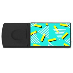 Vintage Unique Graphics Memphis Style Geometric Triangle Line Cube Yellow Green Blue Usb Flash Drive Rectangular (4 Gb) by Mariart