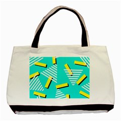 Vintage Unique Graphics Memphis Style Geometric Triangle Line Cube Yellow Green Blue Basic Tote Bag by Mariart