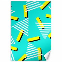 Vintage Unique Graphics Memphis Style Geometric Triangle Line Cube Yellow Green Blue Canvas 24  X 36  by Mariart