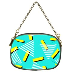 Vintage Unique Graphics Memphis Style Geometric Triangle Line Cube Yellow Green Blue Chain Purses (one Side)  by Mariart