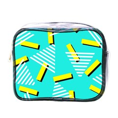 Vintage Unique Graphics Memphis Style Geometric Triangle Line Cube Yellow Green Blue Mini Toiletries Bags by Mariart