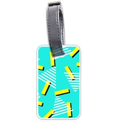 Vintage Unique Graphics Memphis Style Geometric Triangle Line Cube Yellow Green Blue Luggage Tags (one Side)  by Mariart