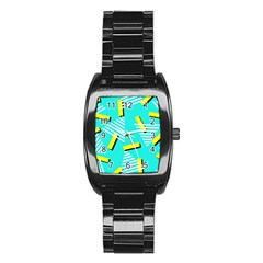 Vintage Unique Graphics Memphis Style Geometric Triangle Line Cube Yellow Green Blue Stainless Steel Barrel Watch by Mariart