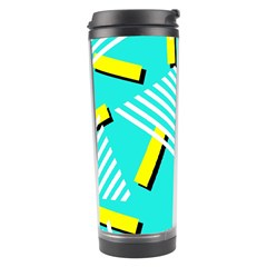 Vintage Unique Graphics Memphis Style Geometric Triangle Line Cube Yellow Green Blue Travel Tumbler by Mariart