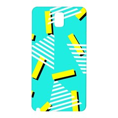 Vintage Unique Graphics Memphis Style Geometric Triangle Line Cube Yellow Green Blue Samsung Galaxy Note 3 N9005 Hardshell Back Case by Mariart