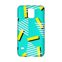 Vintage Unique Graphics Memphis Style Geometric Triangle Line Cube Yellow Green Blue Samsung Galaxy S5 Hardshell Case  by Mariart