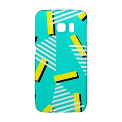 Vintage Unique Graphics Memphis Style Geometric Triangle Line Cube Yellow Green Blue Galaxy S6 Edge by Mariart