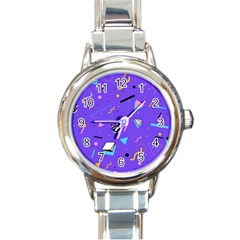 Vintage Unique Graphics Memphis Style Geometric Style Pattern Grapic Triangle Big Eye Purple Blue Round Italian Charm Watch
