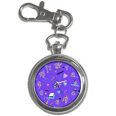 Vintage Unique Graphics Memphis Style Geometric Style Pattern Grapic Triangle Big Eye Purple Blue Key Chain Watches by Mariart