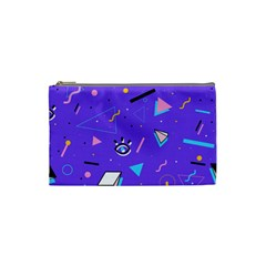 Vintage Unique Graphics Memphis Style Geometric Style Pattern Grapic Triangle Big Eye Purple Blue Cosmetic Bag (small)  by Mariart