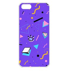 Vintage Unique Graphics Memphis Style Geometric Style Pattern Grapic Triangle Big Eye Purple Blue Apple Iphone 5 Seamless Case (white) by Mariart