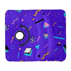Vintage Unique Graphics Memphis Style Geometric Style Pattern Grapic Triangle Big Eye Purple Blue Galaxy S3 (flip/folio) by Mariart