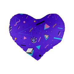 Vintage Unique Graphics Memphis Style Geometric Style Pattern Grapic Triangle Big Eye Purple Blue Standard 16  Premium Heart Shape Cushions by Mariart