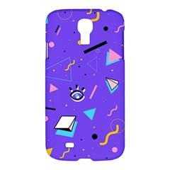 Vintage Unique Graphics Memphis Style Geometric Style Pattern Grapic Triangle Big Eye Purple Blue Samsung Galaxy S4 I9500/i9505 Hardshell Case by Mariart