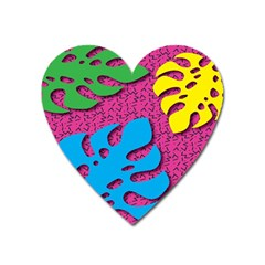 Vintage Unique Graphics Memphis Style Geometric Leaf Green Blue Yellow Pink Heart Magnet by Mariart
