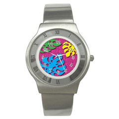 Vintage Unique Graphics Memphis Style Geometric Leaf Green Blue Yellow Pink Stainless Steel Watch by Mariart