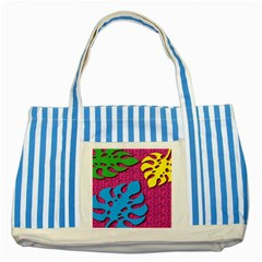 Vintage Unique Graphics Memphis Style Geometric Leaf Green Blue Yellow Pink Striped Blue Tote Bag by Mariart