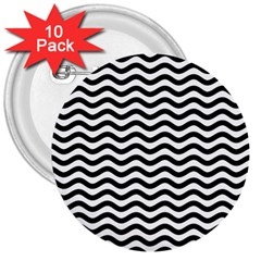 Waves Stripes Triangles Wave Chevron Black 3  Buttons (10 Pack)  by Mariart