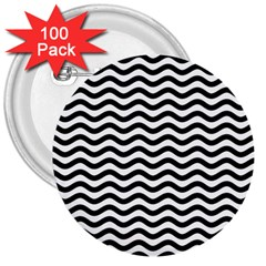 Waves Stripes Triangles Wave Chevron Black 3  Buttons (100 Pack)  by Mariart