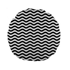 Waves Stripes Triangles Wave Chevron Black Standard 15  Premium Round Cushions by Mariart