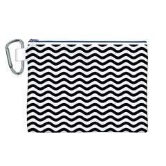 Waves Stripes Triangles Wave Chevron Black Canvas Cosmetic Bag (l) by Mariart