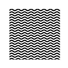 Waves Stripes Triangles Wave Chevron Black Small Satin Scarf (square) by Mariart