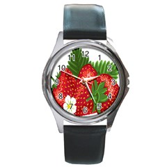 Strawberry Red Seed Leaf Green Round Metal Watch by Mariart