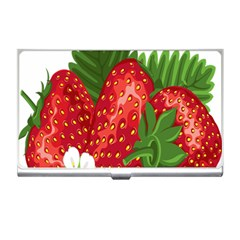 Strawberry Red Seed Leaf Green Business Card Holders by Mariart
