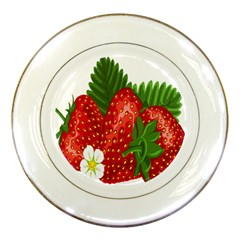 Strawberry Red Seed Leaf Green Porcelain Plates by Mariart