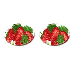 Strawberry Red Seed Leaf Green Cufflinks (oval) by Mariart