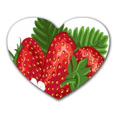 Strawberry Red Seed Leaf Green Heart Mousepads by Mariart