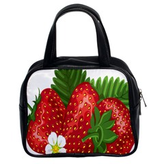 Strawberry Red Seed Leaf Green Classic Handbags (2 Sides) by Mariart