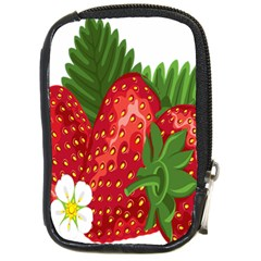 Strawberry Red Seed Leaf Green Compact Camera Cases by Mariart