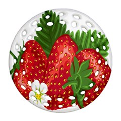 Strawberry Red Seed Leaf Green Round Filigree Ornament (two Sides) by Mariart