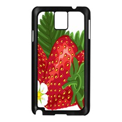 Strawberry Red Seed Leaf Green Samsung Galaxy Note 3 N9005 Case (black) by Mariart