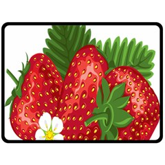 Strawberry Red Seed Leaf Green Double Sided Fleece Blanket (large)  by Mariart