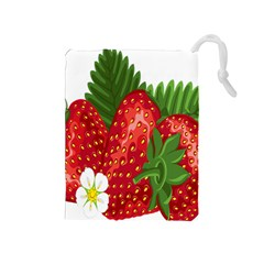 Strawberry Red Seed Leaf Green Drawstring Pouches (medium)  by Mariart