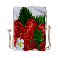 Strawberry Red Seed Leaf Green Drawstring Bag (small) by Mariart