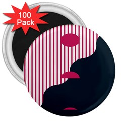 Waves Line Polka Dots Vertical Black Pink 3  Magnets (100 Pack) by Mariart