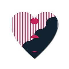 Waves Line Polka Dots Vertical Black Pink Heart Magnet by Mariart