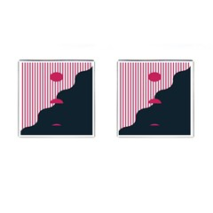 Waves Line Polka Dots Vertical Black Pink Cufflinks (square) by Mariart
