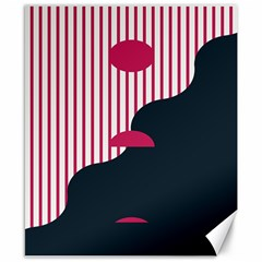 Waves Line Polka Dots Vertical Black Pink Canvas 8  X 10  by Mariart