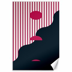 Waves Line Polka Dots Vertical Black Pink Canvas 24  X 36  by Mariart