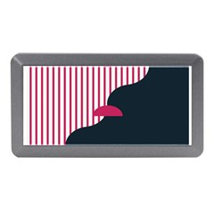 Waves Line Polka Dots Vertical Black Pink Memory Card Reader (mini) by Mariart