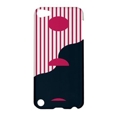 Waves Line Polka Dots Vertical Black Pink Apple Ipod Touch 5 Hardshell Case by Mariart