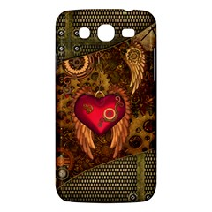 Steampunk Golden Design, Heart With Wings, Clocks And Gears Samsung Galaxy Mega 5 8 I9152 Hardshell Case  by FantasyWorld7