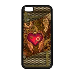 Steampunk Golden Design, Heart With Wings, Clocks And Gears Apple Iphone 5c Seamless Case (black) by FantasyWorld7
