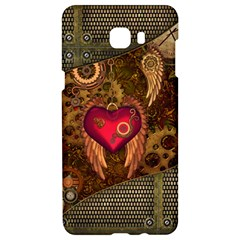 Steampunk Golden Design, Heart With Wings, Clocks And Gears Samsung C9 Pro Hardshell Case  by FantasyWorld7